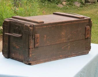 Old Wood Military Crate Sturdy Wooden Box Sweet Barn Treasures