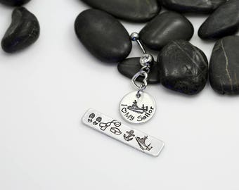 I Love My Sailor Hand Stamped | Custom | Belly Ring