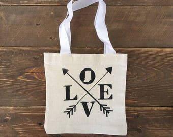 Love, Indiana State - Canvas Tote Bag, 8 x 2.5 x 8, Natural