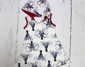 Octopus Hooded Summer Tank Dress, Girls Knit Dress, Ocean Creature, Octopus Dress, Sea Life
