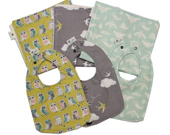 Of the Sky Organic Collection, Baby Bib and Burp Cloth, Newborn, Baby Shower Gift, Gender Neutral Baby Gift Set, Choose fabric, Build a Set