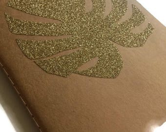 School notebook size A5 - pineapple or Monstera travel notebook - stationery gold