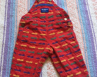 Early 90's Baby Boys Red Choo Choo Train Oshkosh Pants Overalls, Size 6 to 9 Months