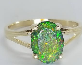 1ct African Black Fire Opal 10K Yellow Gold Ring Size 9