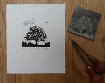 It's Just A Tree - original, limited edition linocut print by Polly Marix Evans