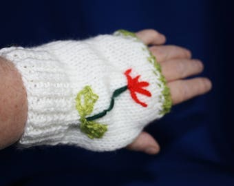 white gloves with small embroidered flowers