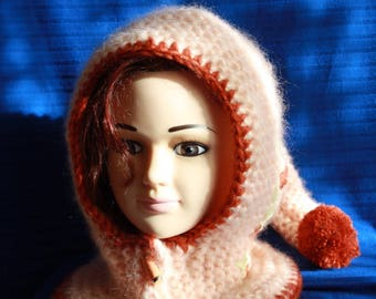 Pixie hood hat with Pompom and integrated collar
