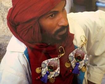 Tassels boho earrings hippie chic - Gypsy - folk nomadic Stud Earrings - Gypsy - ethnic earrings - Gypsy