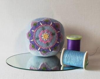 Handmade Pincushion Felted Wool Pink, Lavender and Blue Mandala Flower on a Blue Pincushion