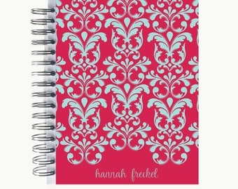 Bullet Journal – Personalized | Spiral | Dot Grid | Notebook | Dotted Damask