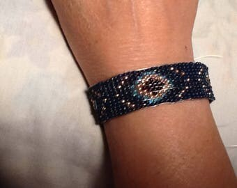 Deep Blue  Breading, handmade, Everyday Wear, Gifts, Special Occasion, Bracelet, Durable, Water Resistant