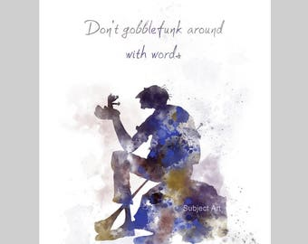 The BFG Quote ART PRINT illustration, Roald Dahl, Movie, Wall Art, Home Decor, Gift