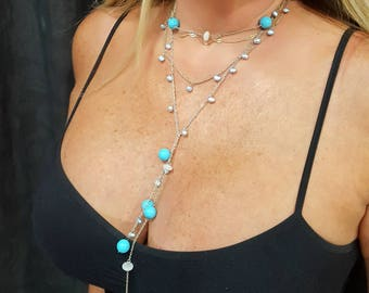 Shimmery blue Aqua Color Bead and 3 Row Drop Lariat Necklace