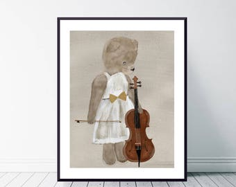 Isabelle bear.whimsical teddy bear portraits.cute vintage teddy bears.colorful nursery and home nature wall art.color your world with bri.b.