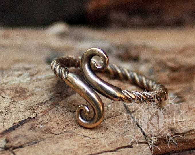 Bronze Infinity Symbol Women's Handcrafted Amulet Adjustable Size Ring 5-7 US