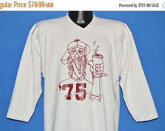 ON SALE 70s Drunk Guy '75 Graduation Jersey t-shirt Extra Large