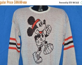 ON SALE 80s Cliff Engle Mickey Mouse Running White Vintage Sweater Large