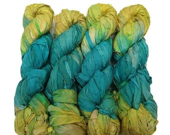 SALE New! Recycled Sari Silk Ribbon, color: Aqua/Lemon
