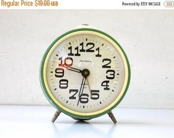 ON SALE JANTAR - Vintage Mechanical Alarm Clock - from Russia / Soviet Union / Ussr