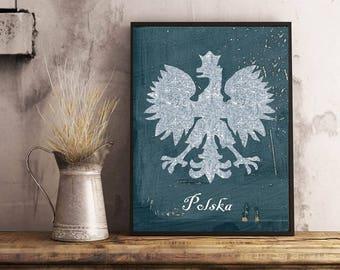 Polish wall art, Polska,shaby print, orzel bialy polski,Poland wall art,white eagle Poland