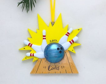 Bowling Personalized Christmas Ornament / Bowler Ornament / Hand Personalized Name and Message / Bowler
