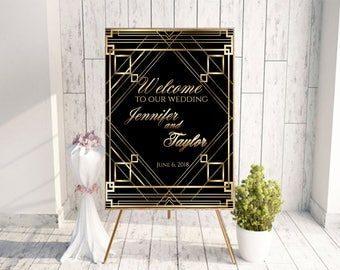 Great gatsby sign, gatsby, gatsby hen party, gatsby bridal shower, prohibition party, prohibition era, Art Deco sign, large wedding sign,