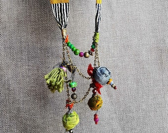 handmade textile jewelry. fabric jewelry. colorful fabric necklace. one of a kind.