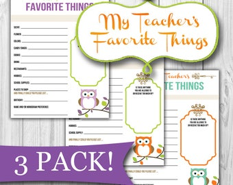 Teacher's Favorite Things List (3-Pack!)  |  Print at Home