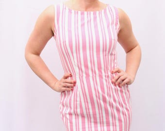 UK Size 12-14 Pink and White Stripped Penci Dress UK size 10-12  retro style dress with pencil skirt by The Emperor's Old Clothes
