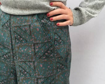 Patterned cotton culottes UK size 12-14 pink teal black turquoise vintage print cotton trousers flares handmade by The Emperor's Old Clothes