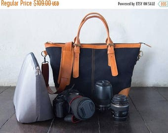 SUMMER SALES Dslr Camera Bag with Insert with shoulder strap - genuine Leather and canvas shoulder bag - tote bag - Leather with canvas - Bl