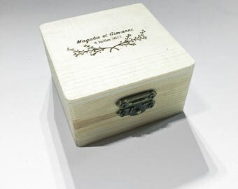 Pretty ring bearer box box carved wood