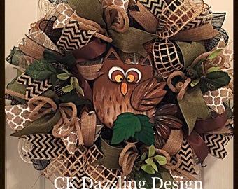 Owl Woodland Deco Mesh Wreath/Owl Wreath/Cabin Owl Wreath/Woodsy Owl Wreath/Rustic Owl Wreath