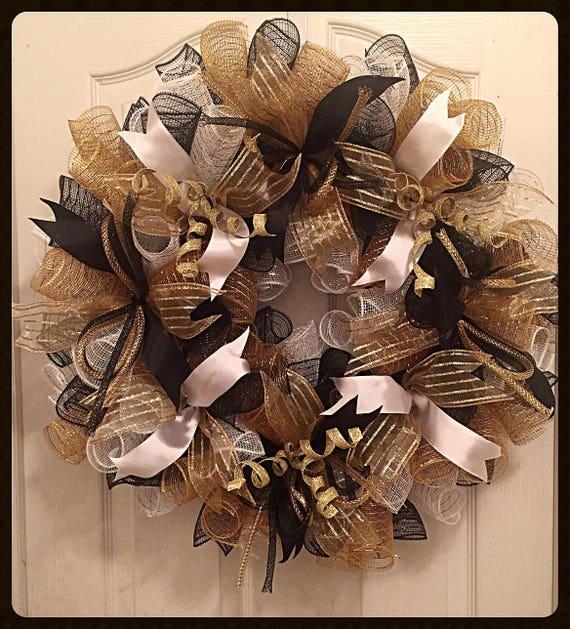 Elegant black gold and white deco mesh wreath