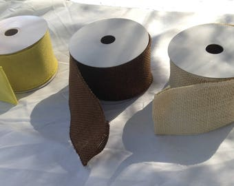 Burlap wired ribbon for wreaths, decorations, garlands, buffet tables and gift packages, wedding ribbon garland