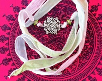 Bracelet/Necklace to tie silk multicolored pastel and Silver flower