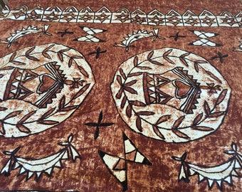 Vintage Hawaiian Barkcloth fabric  / tiki fabric / barkcloth remnant / pillowcover sarong fabric
