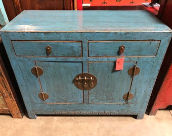 FREE SHIPPING WITHIN U.S.  Antique Chinese Storage Cabinet In Lacquered  Blue (Los Angeles)