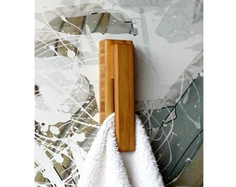 dark bamboo towel holder wood wall hook bath towel hanger towel hooks