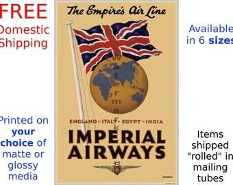 Imperial Airways #6 - Digitally Restored Vintage Air Travel Poster (457990590)