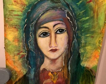 Our Lady of Guadalupe, Virgin Mary, Blessed Mother, Rosa, Mother of Jesus, Madre de Dios, Original Marian art