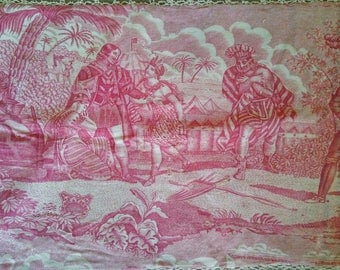 Fabulous and very Rare Morceau of Antique French Toile De Jouy C1820