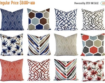 15% OFF SALE Blue Pillow Sham   Red Pillow Cover   Blue And Brown Throw