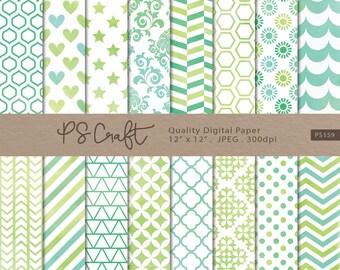 Green Watercolor Digital Papers, Green Digital Paper Pack, Green Patterns, Watercolor Papers, Wedding Invitation