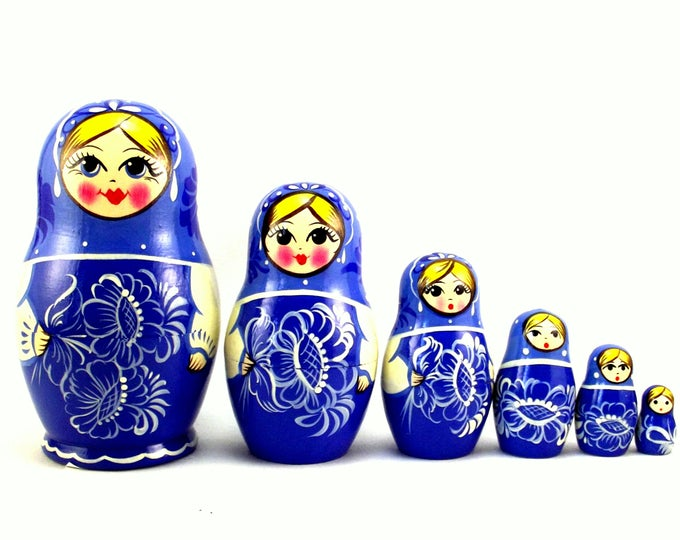 Nesting Dolls 6 pcs Russian matryoshka Babushka doll for kids set Wooden stacking authentic genuine toys Birthday gift for mom Gzhel