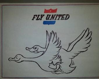 "Vintage ""Fly United"" poster"