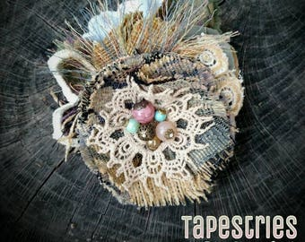 TAPESTRIES COLLECTION-Upcycled Fabric Flower Brooch-Desert Song