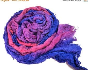 SALE Mulberry silk Lap hand-dyed in tones of Royal , Violet , Lavender and Pink