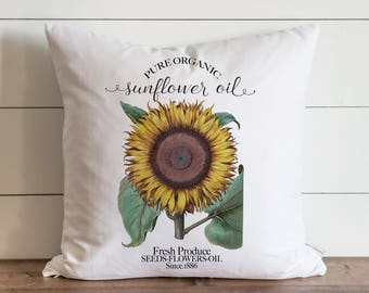 Sunflower 20 x 20 Pillow Cover // Everyday // // Flower // Floral // Herbs // Gift // Accent Pillow