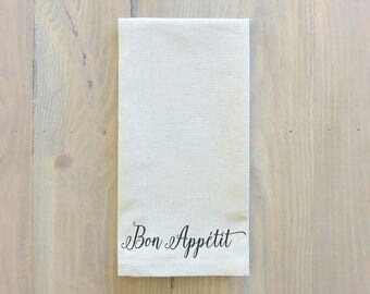 Bon Appetit Napkin_everyday, table setting, tableware, place setting, housewarming gift, party, dinner, event